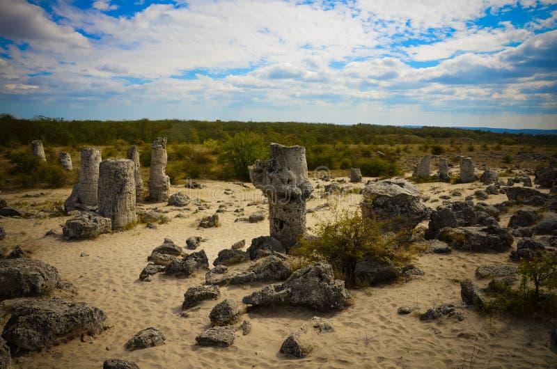Deserto Varna Bulgária da pedra de Forest The da pedra de Pobiti Kamani imagens de stock