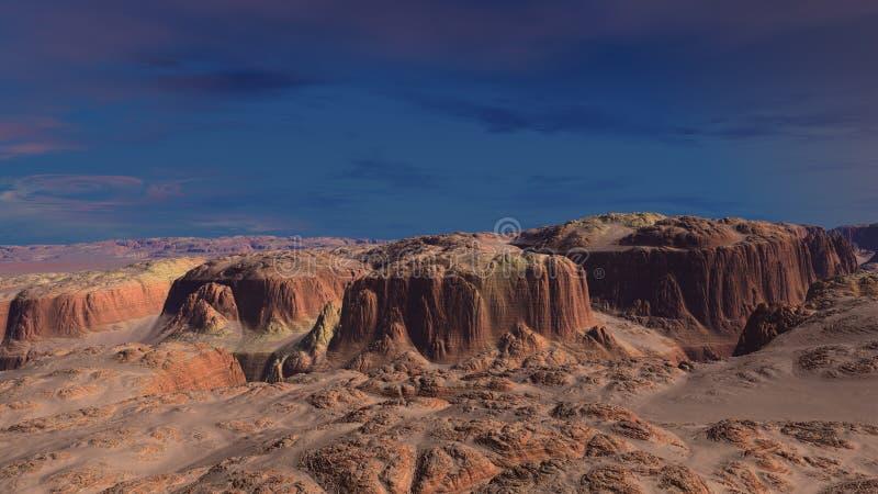 deserto vermelho da areia 3d ilustração do vetor