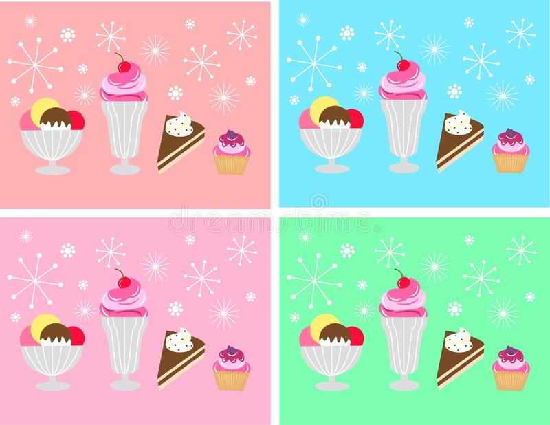 Deserts. Invitation or celebration cards with delicious deserts royalty free illustration
