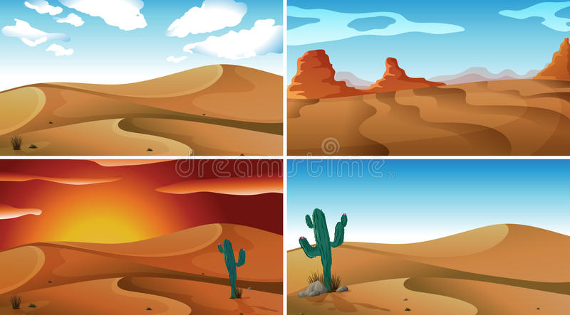 Deserts. Four scenes of deserts and sky vector illustration