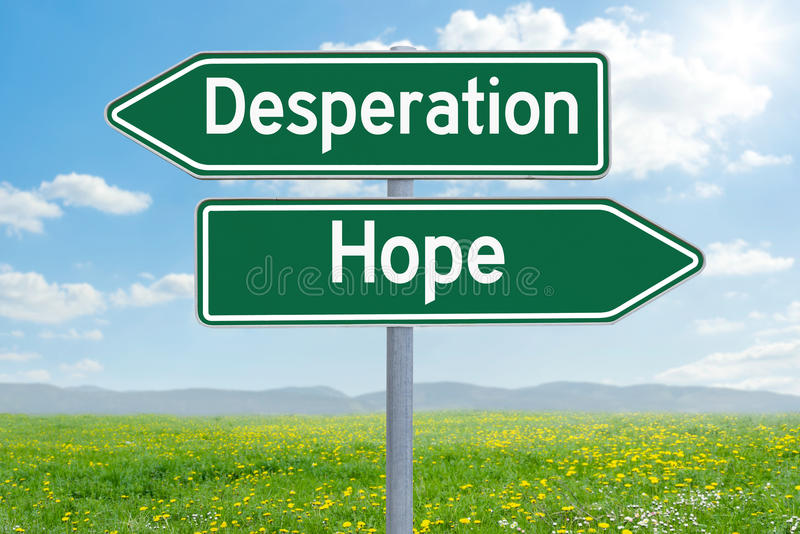 Desesperación o esperanza fotografía de archivo