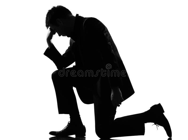 Desespero da fatiga do homem da silhueta cansado fotos de stock