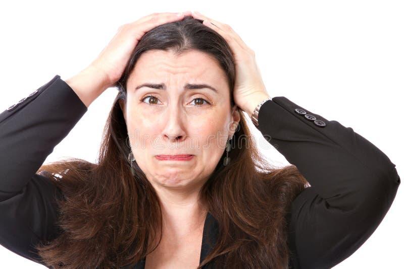 Desespero de uma mulher de negócio foto de stock royalty free