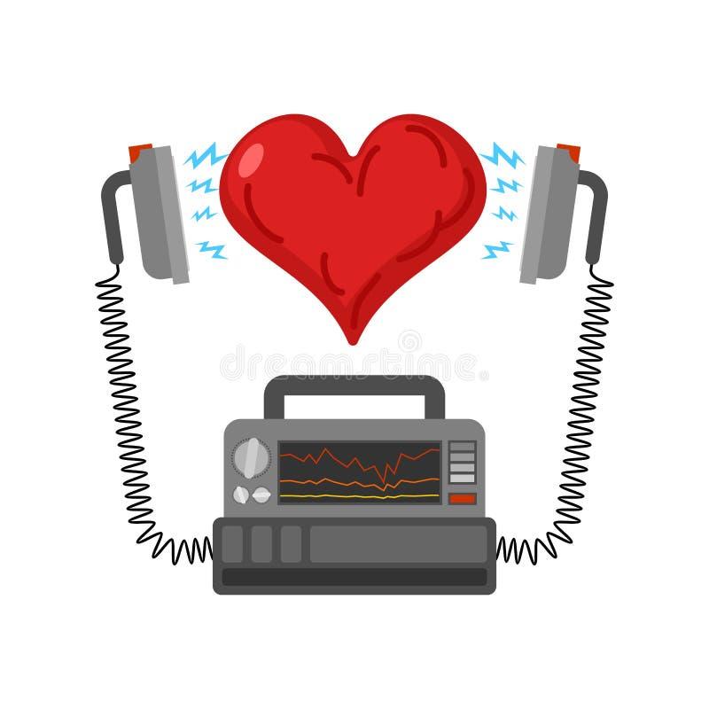Desfibrilador e coração Dispositivo m?dico terapia do electropulse de desordens do ritmo do cora??o ilustração stock