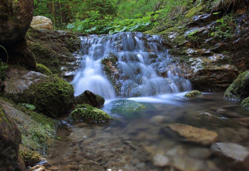 Desfiladeiro com a cachoeira em Lesser Fatra foto de stock royalty free
