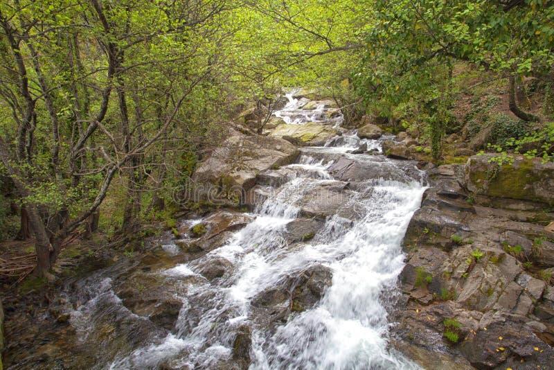 Desfiladeiro da água no vale de Jerte Caceres com efeito de seda fotos de stock royalty free