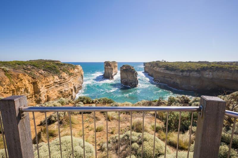 Desfiladeiro de Ard do Loch - Tom e Eva, grande estrada do oceano, Austrália fotos de stock royalty free