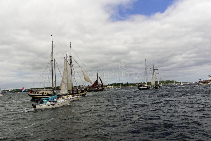 Desfile alto de la nave en el Kieler Woche 2018, Kiel, Alemania foto de archivo libre de regalías
