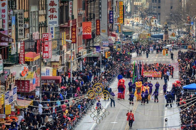 Desfile chino del Año Nuevo en Nueva York fotos de archivo