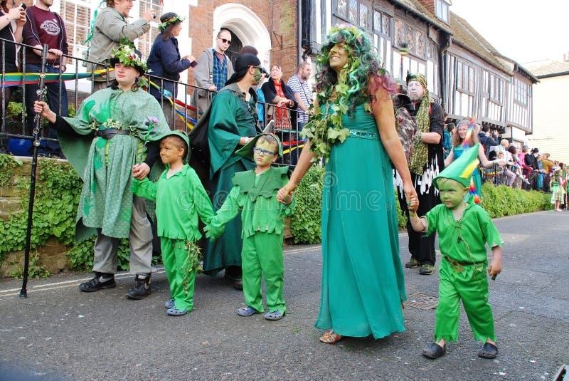 Desfile de Jack In The Green, Hastings imagen de archivo libre de regalías