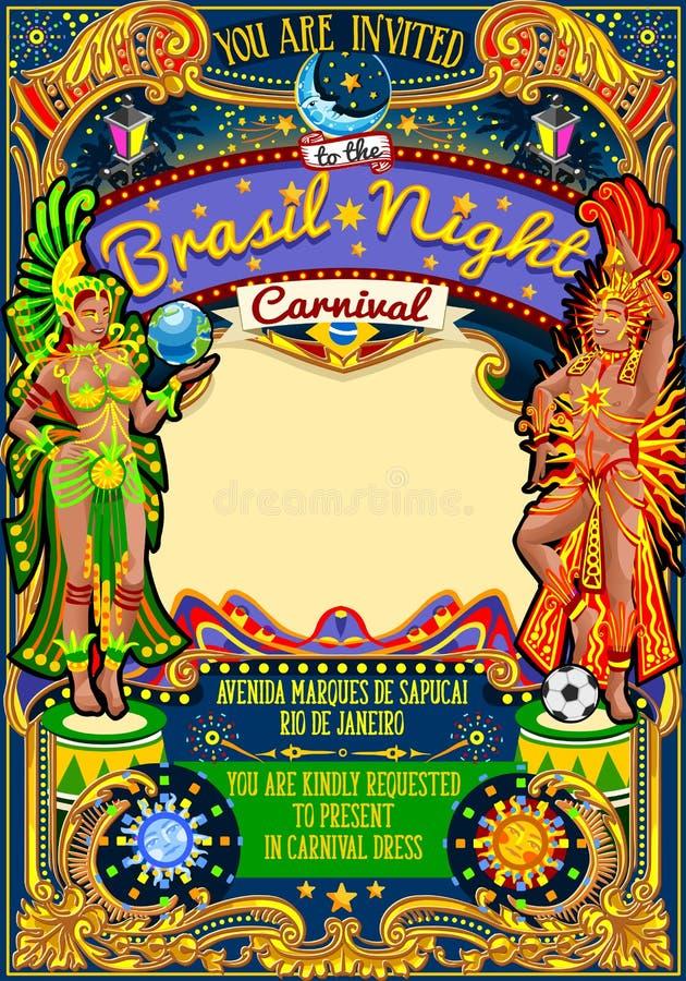Desfile de la demostración de la máscara de Rio Carnival Poster Template Brazil Carnaval ilustración del vector