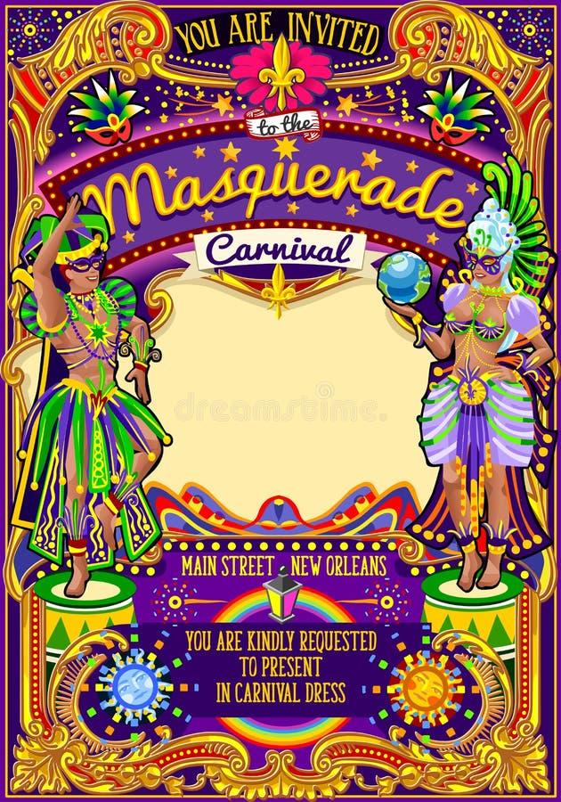 Desfile de la demostración de la máscara del carnaval de Mardi Gras Carnival Poster Template ilustración del vector