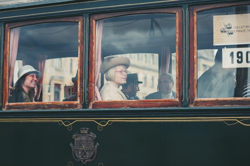 Desfile de la tranvía del vintage, Praga, República Checa imagen de archivo libre de regalías