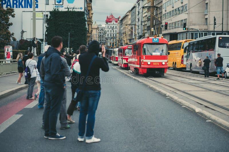 Desfile de la tranvía del vintage, Praga, República Checa foto de archivo libre de regalías