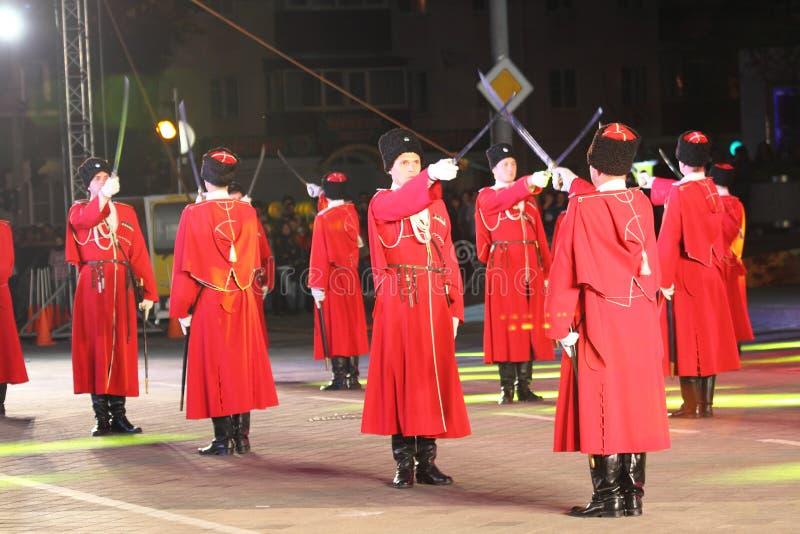 Desfile de los cosacos de Kuban del ruso imagenes de archivo