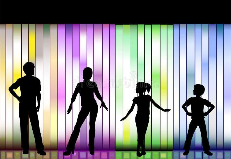Desfile de moda da família no fundo colorido ilustração royalty free