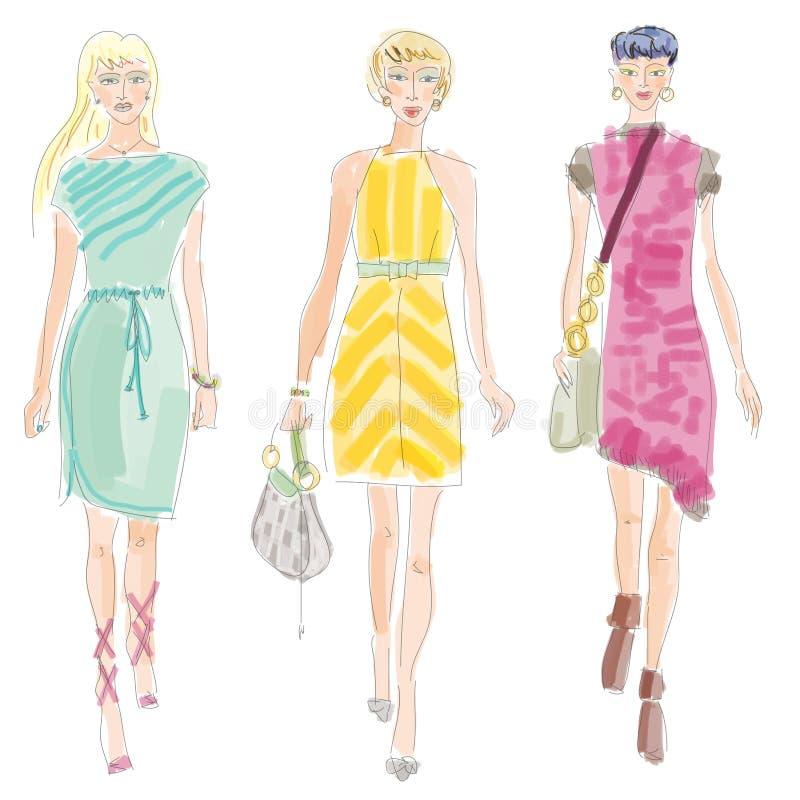 Desfile de moda de Moda Ilustração com trajeto de grampeamento imagens de stock