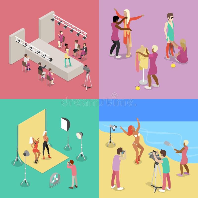Desfile de moda isométrico Fotógrafo Shooting Model en estudio Sesión de foto de la playa libre illustration