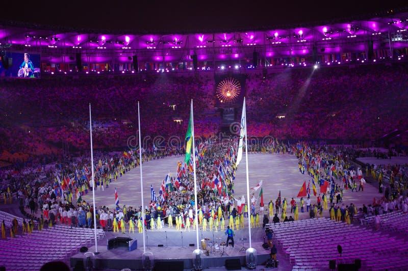Desfile de naciones durante las Olimpiadas Rio2016 imágenes de archivo libres de regalías