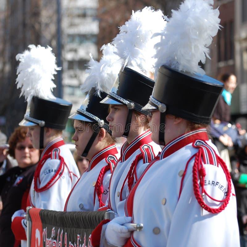 Desfile de New York City de la banda de la High School secundaria fotografía de archivo