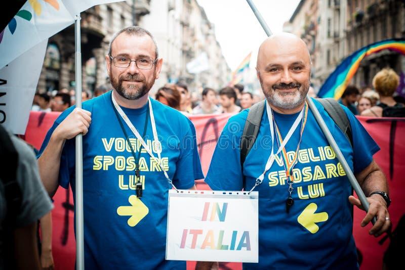 Desfile de orgullo gay en Milán en junio, 29 2013 fotos de archivo libres de regalías