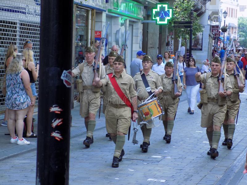 Desfile de veterano-Gibraltar-EUROPA foto de archivo libre de regalías