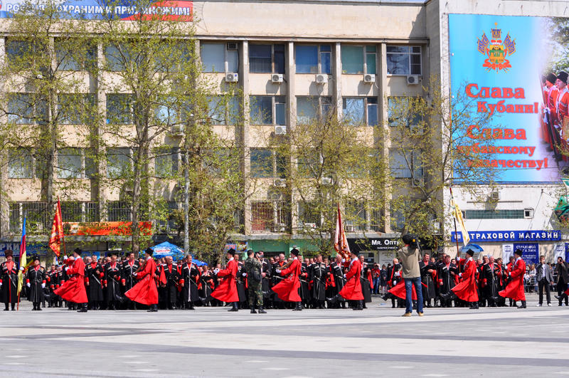 Desfile del Cossack el 21 de abril de 2012 en Krasnodar, Rus fotografía de archivo