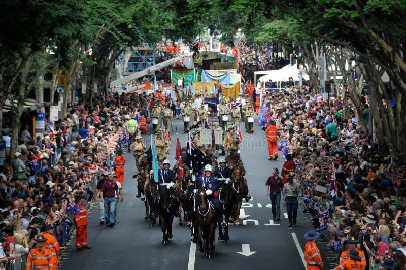 Desfile del día de Brisbane Anzac imágenes de archivo libres de regalías