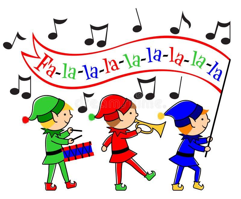 Desfile del Musical de los duendes de la Navidad ilustración del vector