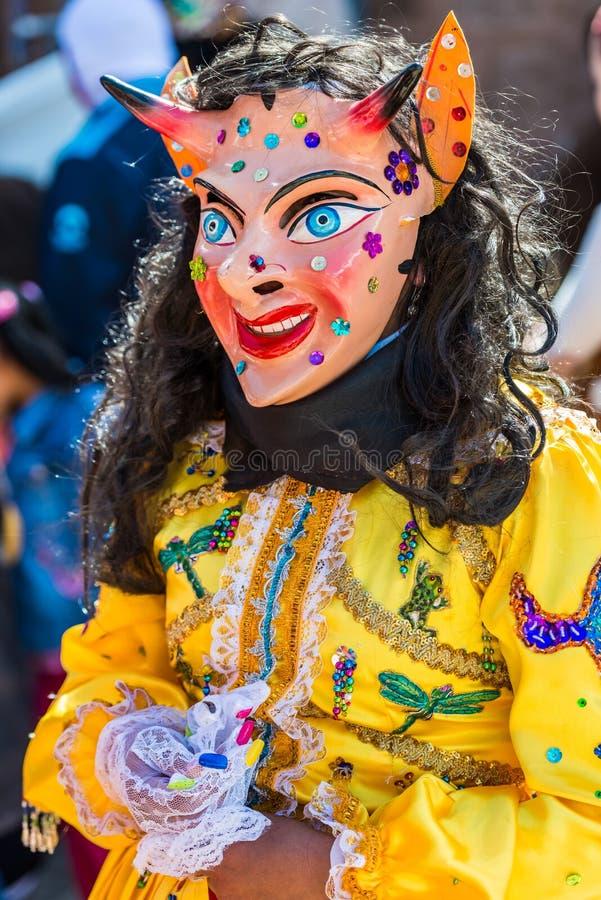 Desfile enmascarado los Andes peruanos Pisac Perú de Virgen del Carmen de la mujer fotos de archivo libres de regalías