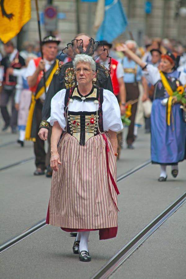 Desfile Suizo Del Día Nacional En Zurich Imagen editorial