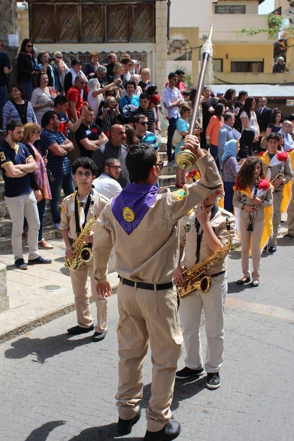 Desfile tradicional para el banquete del anuncio en Nazaret fotografía de archivo