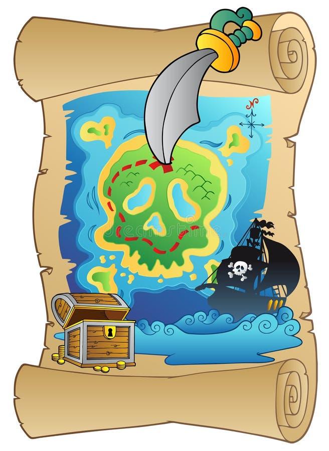 Desfile viejo con la correspondencia del pirata ilustración del vector