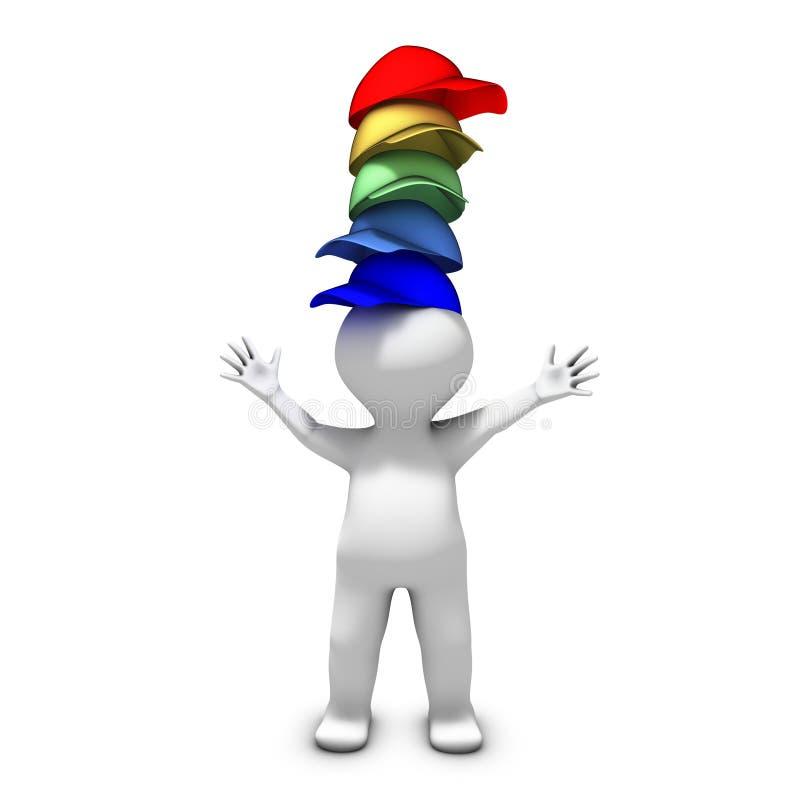 Desgastar muchos sombreros ilustración del vector