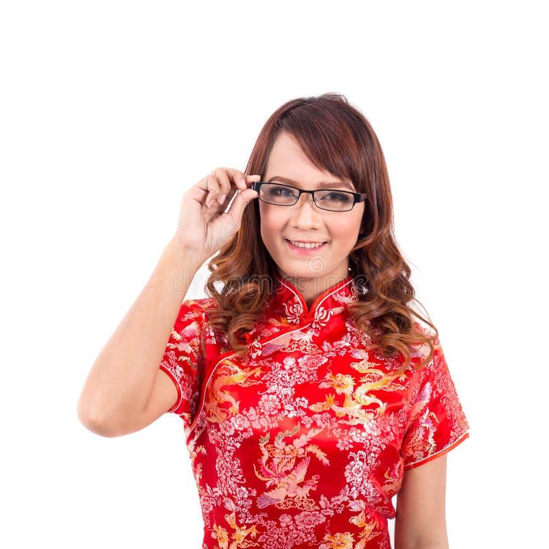 Desgaste chinês asiático da menina ou vidros do punho no chinês tradicional fotos de stock royalty free