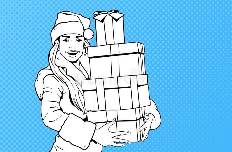 Desgaste hermoso Santa Costume Hold Gift Box de la muchacha, Feliz Navidad y estallido retro Art Style del concepto de la Feliz A libre illustration
