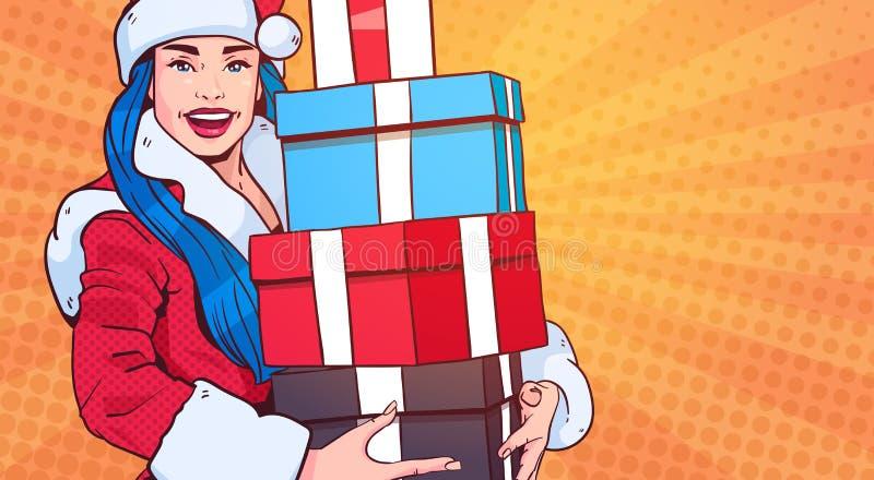 Desgaste hermoso Santa Costume Hold Gift Box de la muchacha, Feliz Navidad y estallido retro Art Style del concepto de la Feliz A ilustración del vector