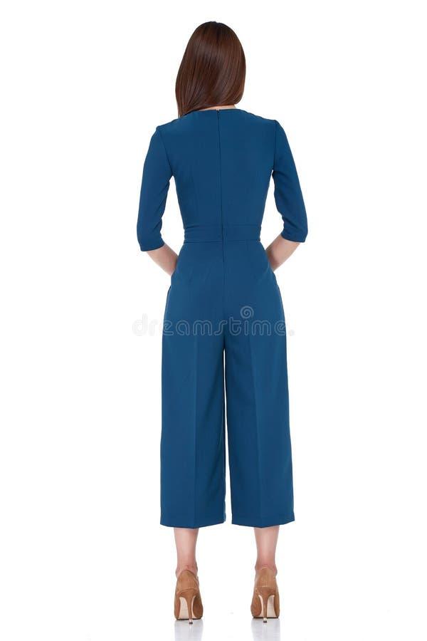Desgaste moreno p azul del pelo de la forma perfecta del cuerpo de la mujer del estilo de la moda fotos de archivo