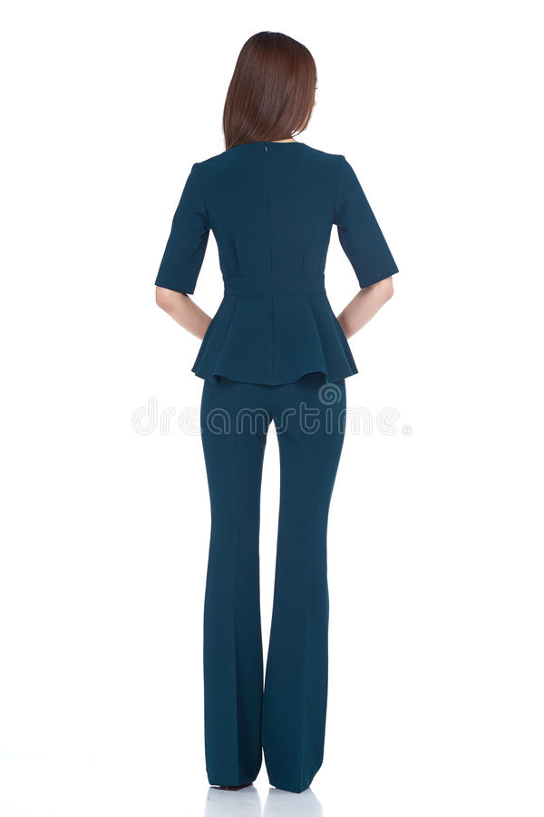 Desgaste moreno p azul del pelo de la forma perfecta del cuerpo de la mujer del estilo de la moda fotografía de archivo