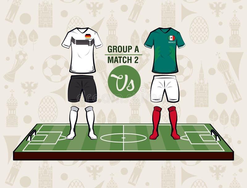 Desgaste Rússia 2018 do esporte do futebol ilustração royalty free