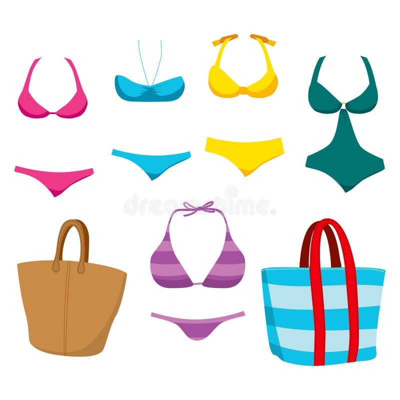 Desgaste y accesorios de la nadada de la moda stock de ilustración