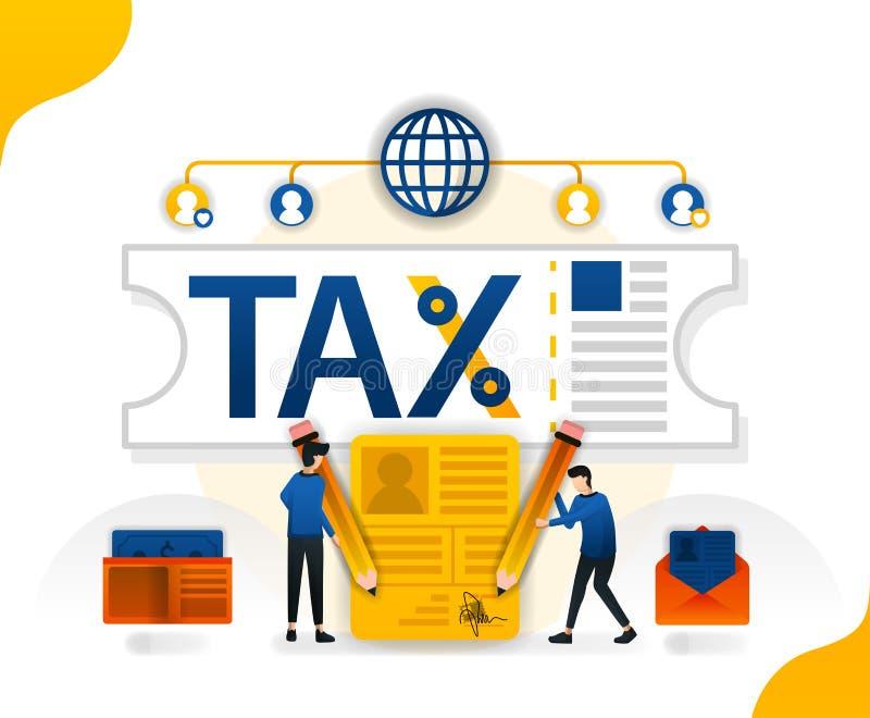 Desgravación fiscal y perdón impuestos del terraplén en línea descuento en la amnistía de impuesto, ejemplo del vector del concep ilustración del vector