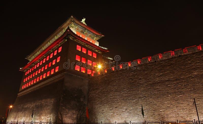 Deshengmen Arrow Tower at night, Beijing. stock photography