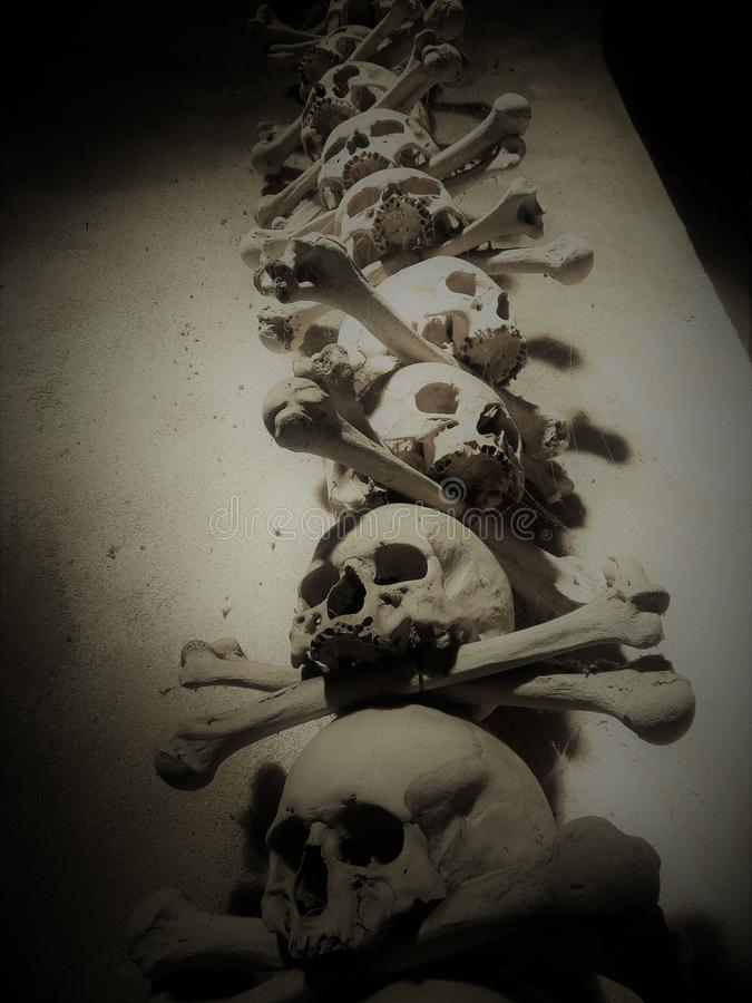 Deshuesa los sculls humanos mórbidos colocados en un osario que es un símbolo mórbido de la muerte imagen de archivo libre de regalías