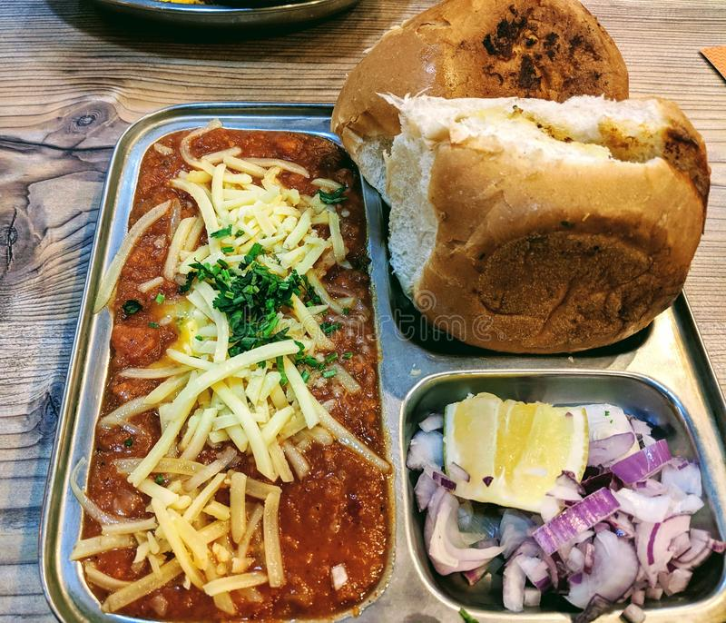 Desi Indian Street food. Pau bhaji. Desi Indian Street food. Pau royalty free stock image