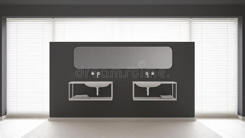 Desi interior minimalistic escandinavo do banheiro, o branco e o cinzento ilustração stock