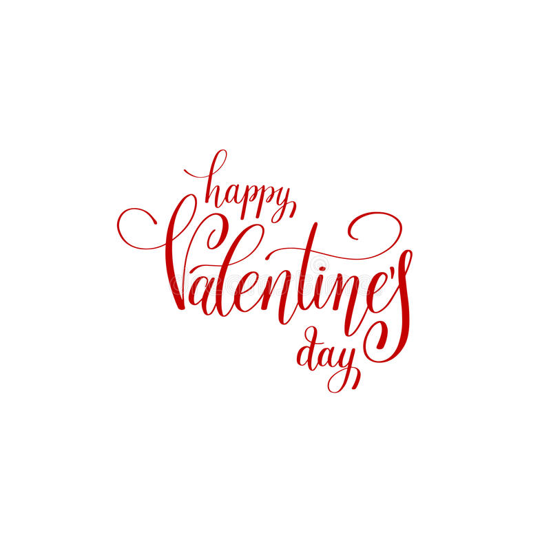 Desi rouge manuscrit heureux de logo de vacances de lettrage de jour de valentines illustration de vecteur