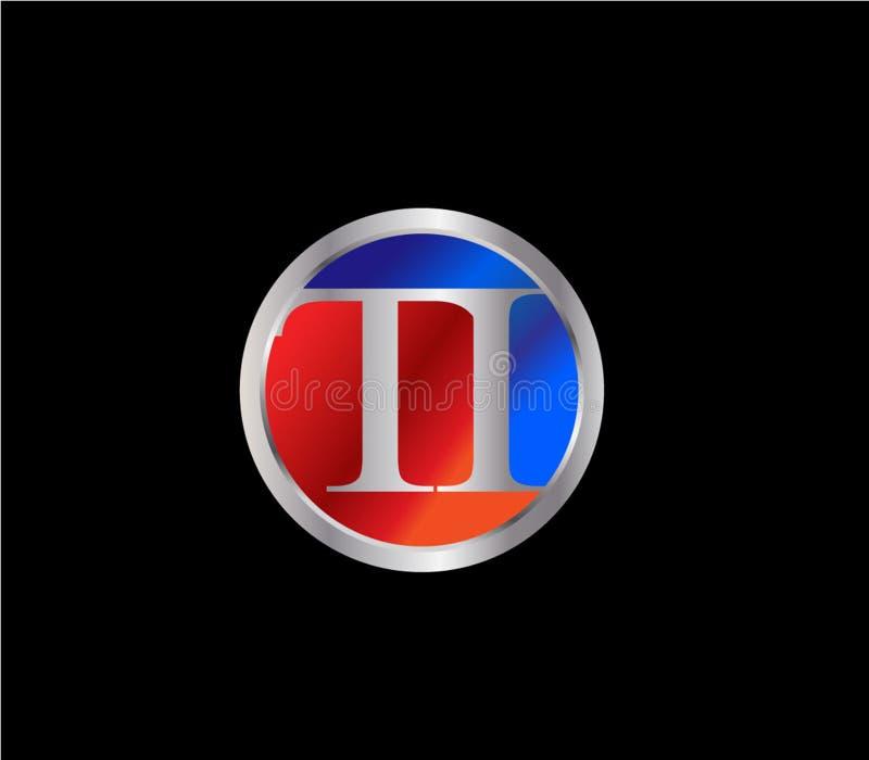 Desi successivo rosso d'argento di logo di colore blu di forma iniziale del cerchio del TI illustrazione di stock