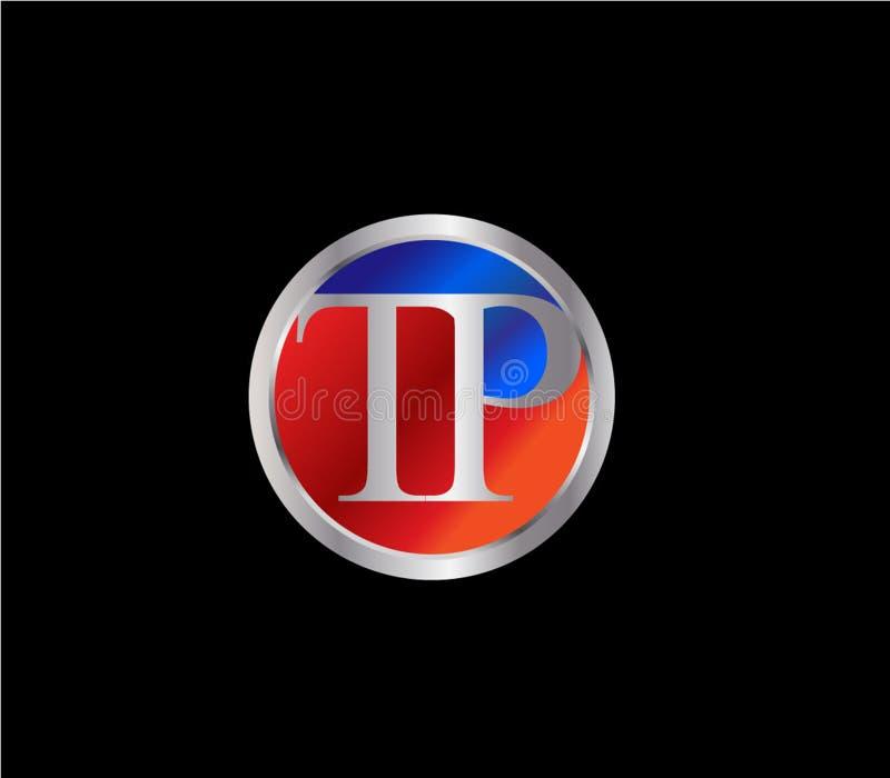 Desi successivo rosso d'argento di logo di colore blu di forma iniziale del cerchio di TP illustrazione vettoriale