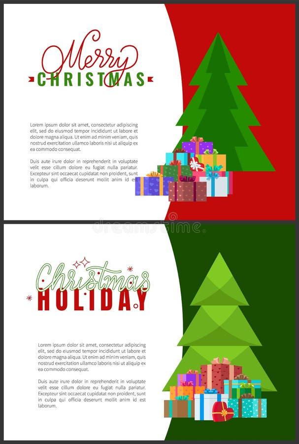 Desideri di feste di Buon Natale che segnano saluto con lettere illustrazione di stock